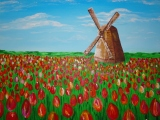 Holland Windmill and Tulips